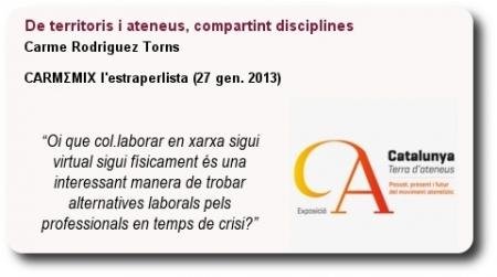De territoris i ateneus compartint disciplines.Carme Rodriguez Torns. Carmemix
