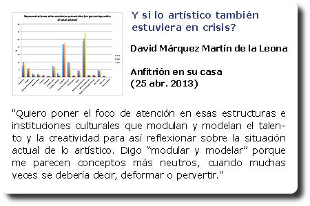 Y si lo artístico también estuviera en crisis? David Márquez Martín de la Leona. Anfitrión en su casa