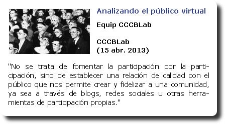 Analizando el público virtual. Equip CCCBLab