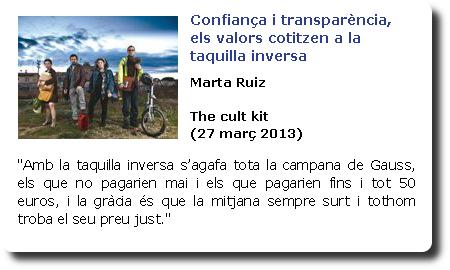 Confiança i transparència, els valors cotitzen a la taquilla inversa. Marta Ruiz. The cult kit